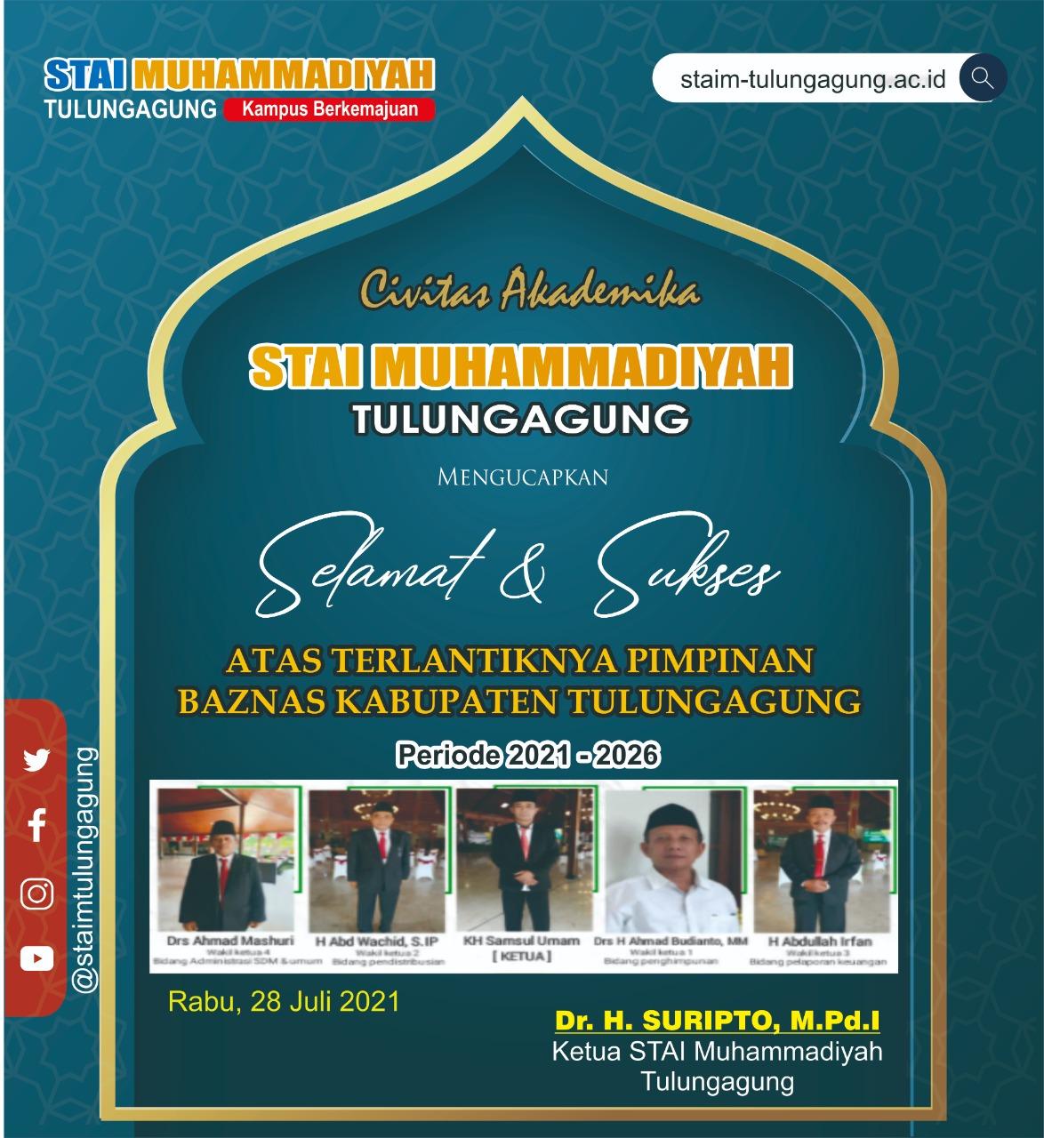 Selamat dan Sukses atas Terlantiknya Pimpinan Baznas Kabupaten Tulungagung